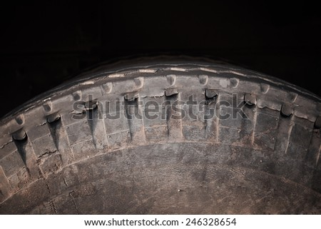 Car tires close-up Winter wheel profile structure - stock photo