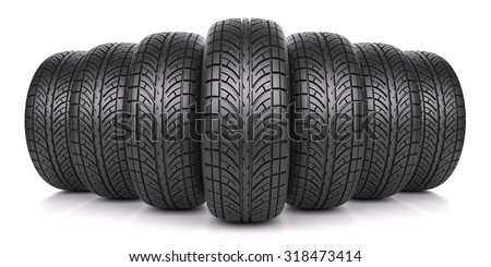 Car tires in row isolated on white background 3d - stock photo