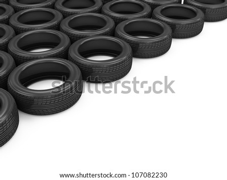 Car Tires isolated on white background with place for your text - stock photo