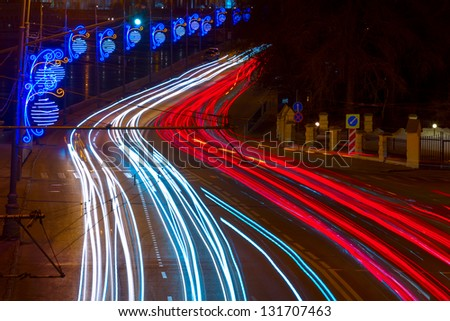Car traces in the Moscow Night, Russia