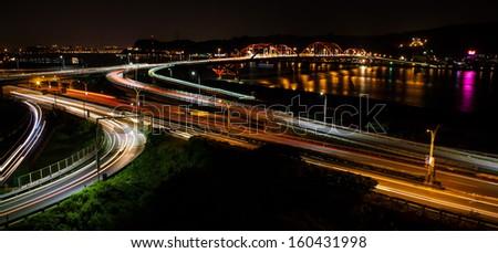 Car track on bridge - stock photo