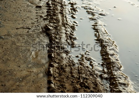 car tracks in wet mud
