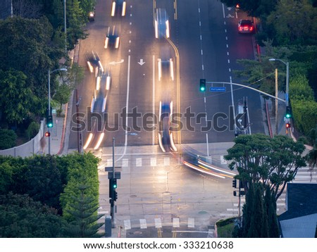 Car traffic at Hollywood Boulevard in Los Angeles, California. - stock photo