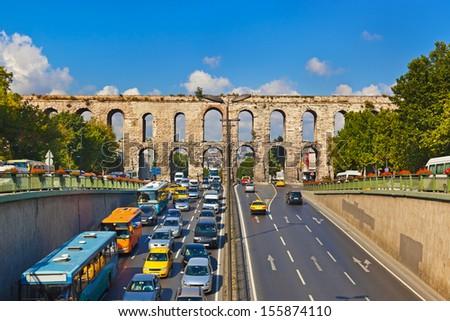 Car traffic at Istanbul Turkey - transportation background - stock photo