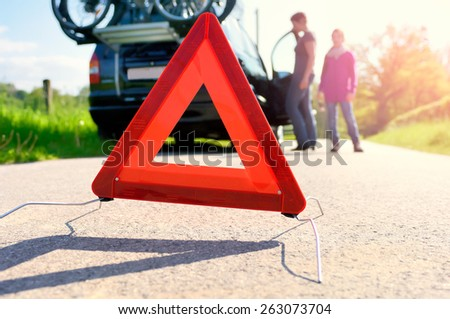 Car Trouble on a Holiday Trip - stock photo