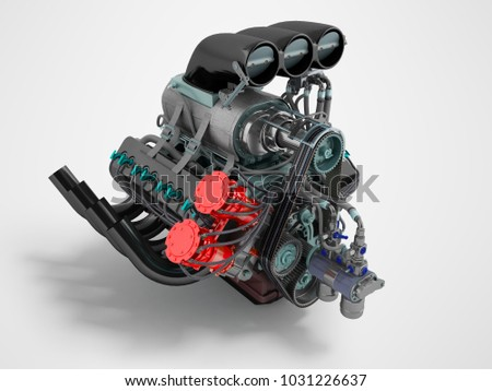 Car turbo red blue perspective on the left 3D render on a gray background with shadow