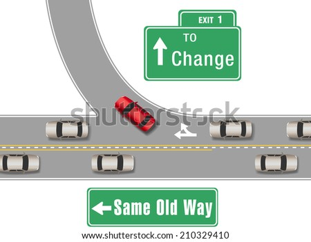 Car turning from busy traffic road exit on  a new different direction - stock photo
