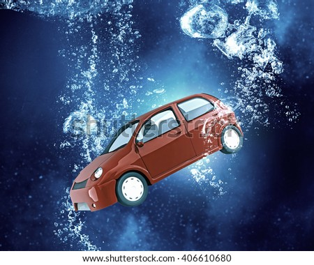 Car under water - stock photo