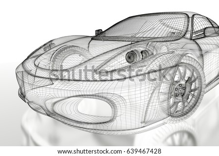Car blueprint stock images royalty free images vectors car vehicle 3d blueprint mesh model on a white background 3d rendered image malvernweather Images