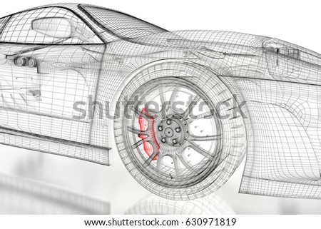 Car vehicle 3d blueprint mesh model ilustracin en stock 630971819 car vehicle 3d blueprint mesh model with a red brake caliper on a white background malvernweather