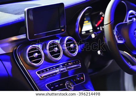 car ventilation system and air conditioning - details and controls of modern car. - stock photo