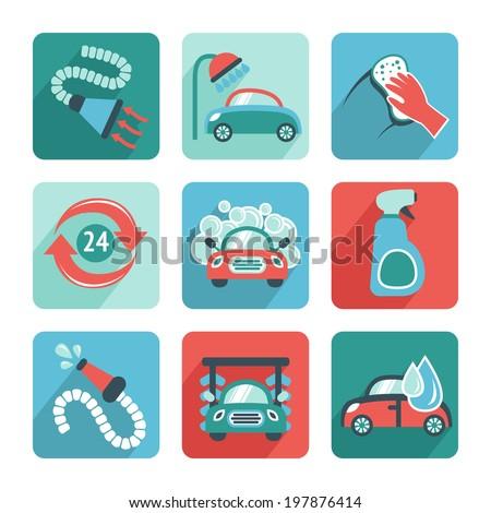 Car wash flat auto cleaner washer shower service isolated icons  illustration - stock photo