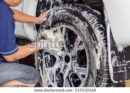 Car washing - stock photo