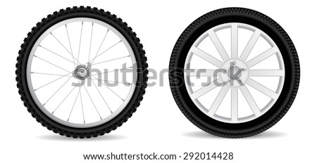 Car wheel and Bicycle wheel isolated on white. Raster version - stock photo