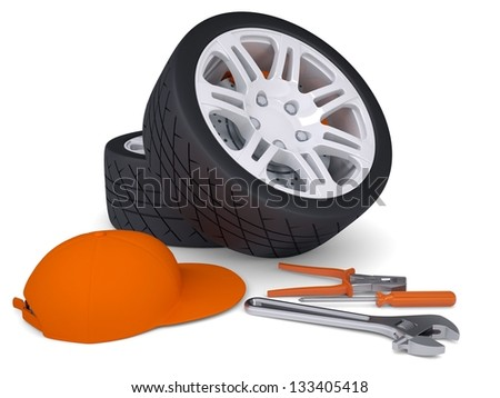 Car wheel and tools. Isolated render on a white background - stock photo