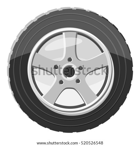 Car wheel icon. Gray monochrome illustration of car wheel  icon for web