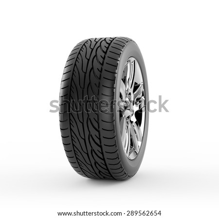 Car wheel isolated on white background - stock photo