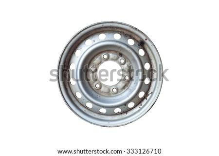 Car wheel, isolated on white background. - stock photo