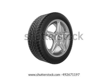 Car wheel. Isolated on white background - 3D render