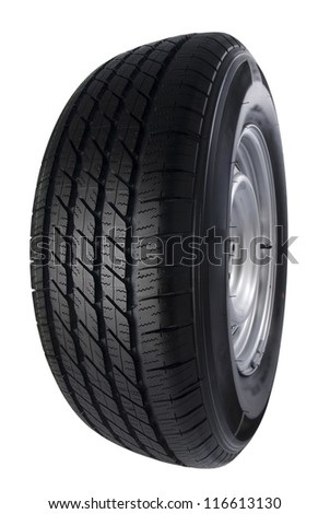 Car wheel isolated on white, Copy space. - stock photo
