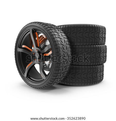 car wheel on a white background, with a unique pattern on the tread of the tire is suitable for any of your Projects.