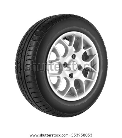Car wheel on white