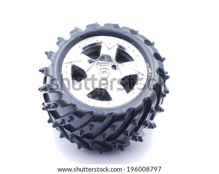 Car wheel on white background