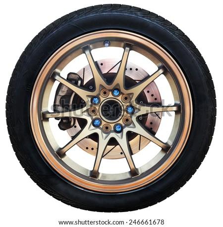 Car wheel on white background, tires car wheel - stock photo