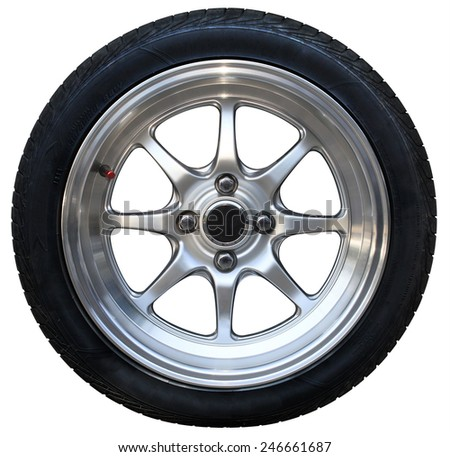 Car wheel on white background, tires car wheel