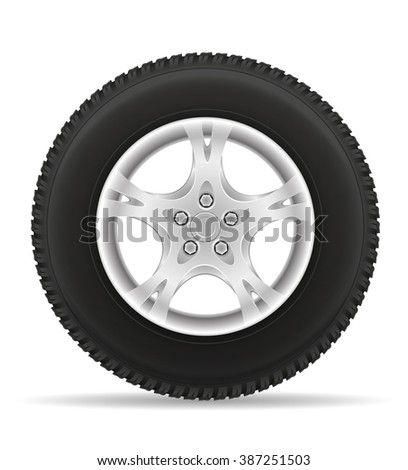 car wheel tire from the disk illustration isolated on white background