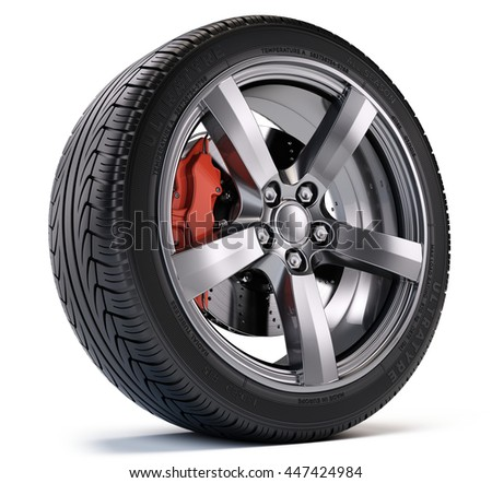 Car wheel with breke disc and caliper isolated on white. 3d illustration - stock photo