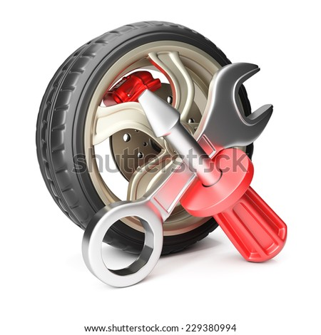 Car wheel with screwdriver and wrench isolated on white background. Service concept. 3d render - stock photo