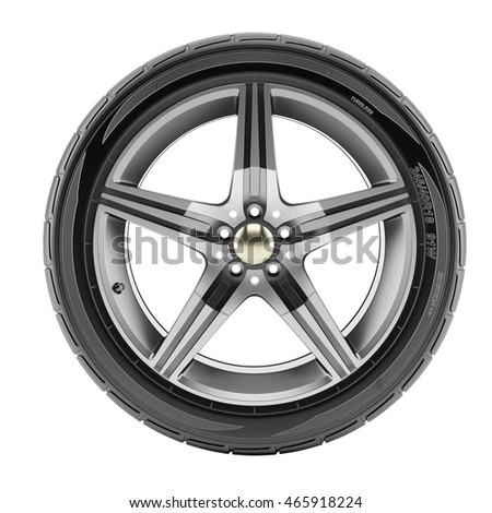 Car wheel with sport rims isolated on white background