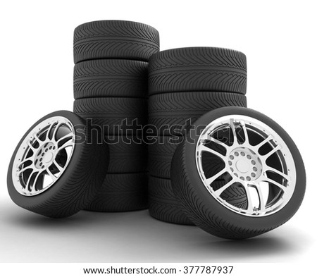 Car Wheels. Concept design. 3D render Illustration on White Background