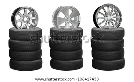 Car wheels, isolated on white background (Save Paths for design work)