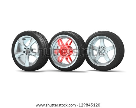 Car wheels on white background. - stock photo