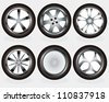 car wheels set - stock photo