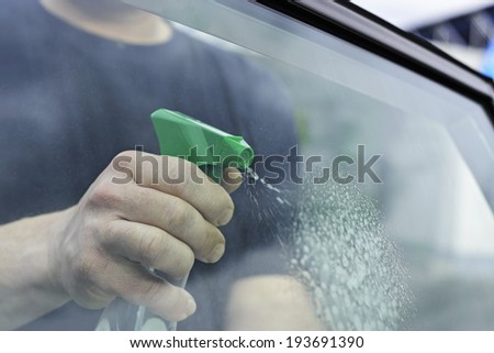 car windows cleaning - stock photo