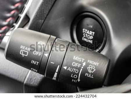 car wiper control stick - stock photo