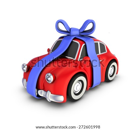 Car with a bow on a white background.  - stock photo