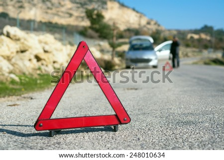 Car with a breakdown - stock photo