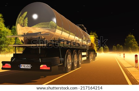 Car with fuel on the road at night. - stock photo