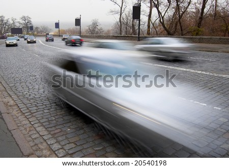 Car with motion blur - stock photo
