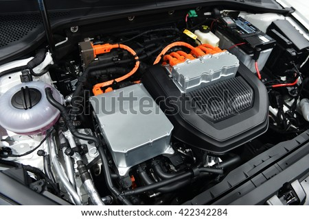 Car with open hood.car engine details