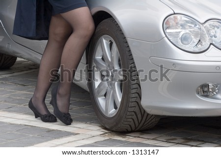 Car with the model legs