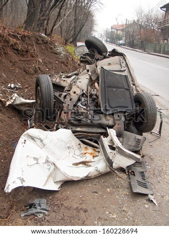 Car wreck after traffic accident - stock photo