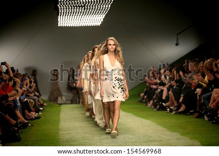 Cara Delevingne at London Fashion Week SS14  - Topshop Unique - Catwalk, London. 15/09/2013 - stock photo