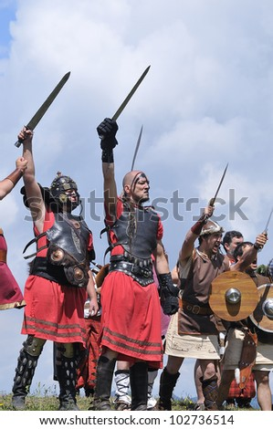 CARABANZO, SPAIN - AUGUST 21: Recreation of the battle between the Romans and Asturian on August 21, 2011 in Carabanzo, Spain. - stock photo