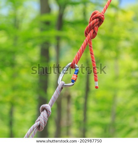 Carabine and knots on ropes for climbers  - stock photo