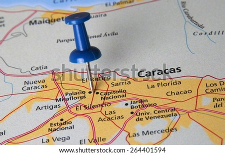 Caracas destination in the map - stock photo